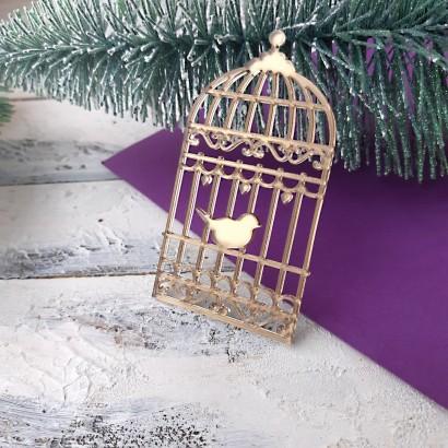"Декор из зеркального пластика ""Клетка с птицей"" ЗП-59"